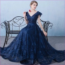 Medieval Blue Overlace Butterfly Sleeve Laceup Back Renaissance Ladies L... - $178.95