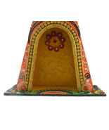 Handmade Hand painted Wooden Triangular Home Temple (without light) - $68.99
