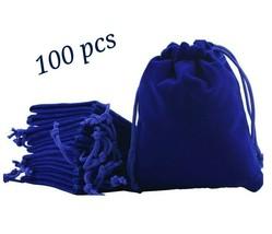 Wedding Velvet Gift Bags x100 Royal Blue Jewelry Pouch Velour Drawstring... - $77.39