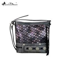 Montana West Stars & Silver Concho PU Leather Canvas Crossbody Bag Purse 3colors - $48.99