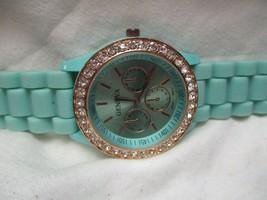 Geneva Blue & Rose Gold Toned Wristwatch w/ Adjustable Buckle Band - $29.00