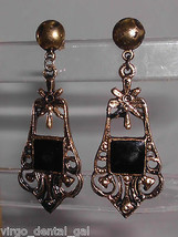 VTG Gold Tone Black Enamel Flower Openwork Dangle Earrings - $7.92