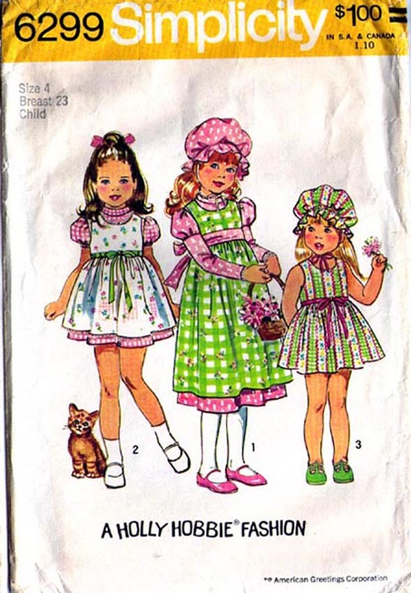 1974 HOLLY HOBBIE  DRESS, JUMPER & CAP Pattern 6299-s Girl's Size 4 - Complete
