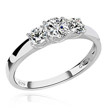 GemsChest 925 Sterling Silver Round Cubic Zirconia 3-Stone Ring Wedding (8) - $25.41