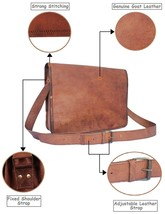 "16"" Handmade Brown Leather Mgessenger Bag Laptop Mac Book Travel Cross b... - $36.40+"