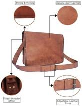 "16"" Handmade Brown Leather Mgessenger Bag Laptop Mac Book Travel Cross b... - $36.40+"