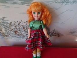 "Vintage Hard plastic doll with Bright Orange Hair-No marking 14"" - $19.31"