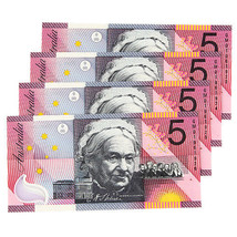2001 Australia Federation $5 Notes sequential serial Lot of 4pcs - $103.94