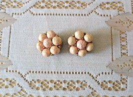 Clip On Earrings Vintage Coral Colored Bead - $22.50