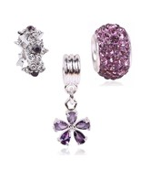 E flower crystal charm beads silver color fit pandora bracelet diy jewelry accessories thumbtall