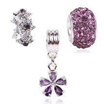 Couqcy Cute Lovely Purple Flower Crystal Charm Beads Silver Color Fit Pa... - $16.19