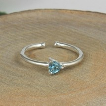 Prong Set Blue Topaz Gemstone 925 Sterling Silver Engagement Rings Jewelry - $15.83