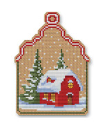 Christmas House Ornament Kit cross stitch Colonial Needle  - $13.50