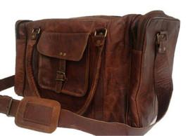 Men's Brown Vintage Genuine Leather Goathide Travel Luggage Duffle Gym B... - $1.178,71 MXN