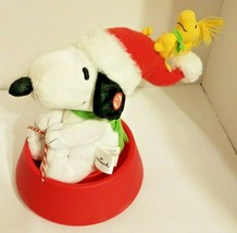 Hallmark Snoopy And Woodstock Sledding In Dog Bowl Sound and Motion - $16.48