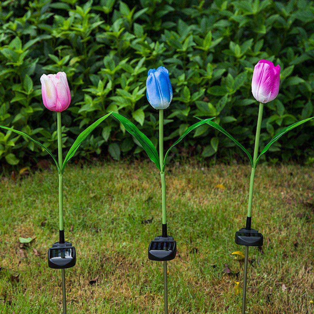 solar lights led tulip flower outdoor garden yard decorative lamp landscape walkway lights. Black Bedroom Furniture Sets. Home Design Ideas