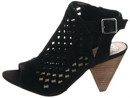 Vince Camuto Leather Perforated Heeled Sandals-Emperla Black 6.5M NEW A3... - $39.58