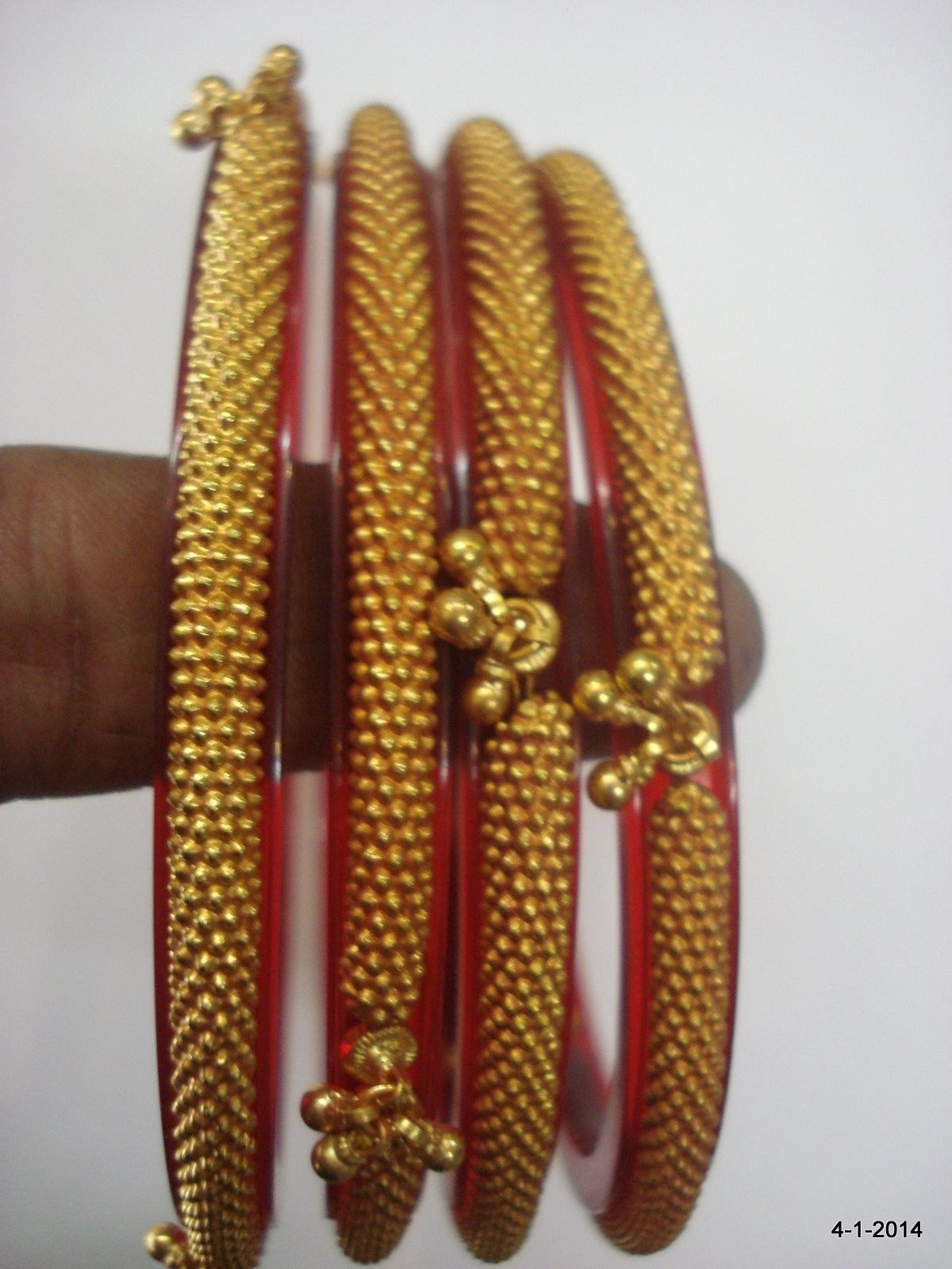 22k gold bracelet bangle set 4pc. handmade tribal jewelry