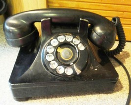 antique DIAL TELEPHONE BLACK plug is converted to current WORKS - $87.95