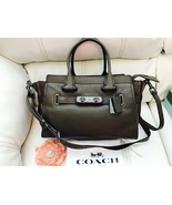 Nwt Coach 12117 Fatigue  Pebble Leather Swagger 27 Satchel Carryall New - $197.51