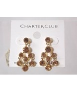 Macys Charter Club Gold Tone Topaz Swarovski Crystal Pierced Chandelier ... - $12.86