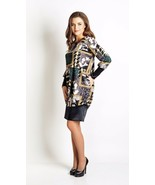 GRAPHIC PARTY DRESS Made in Europe Long Sleeve Pocket Tunic Dress Fashio... - $98.00