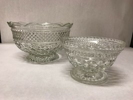 Set 2 Matching SERVING BOWLS Cut Crystal Clear Glass Nesting Footed Tabl... - $39.59