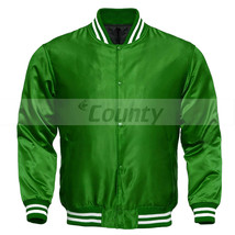 Letterman Baseball College Varsity Quality Bomber Jacket Sports Wear Green Satin - $49.98+