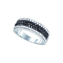 10k White Gold Black Color Enhanced Diamond Striped Cocktail Band Ring 1.00 - $539.00