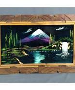 Vintage Black Velvet Painting Snow Capped Mountain Valley Lake Framed 25... - $33.81
