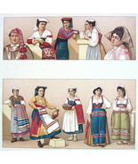 ITALY Women Peasants Costume near Rome - COLOR Litho Print by Racinet - $12.15