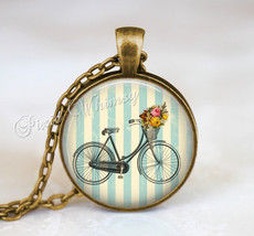 BICYCLE Necklace Pendant Jewelry or Keychain Shabby Blue Cottage Flowers... - $11.95