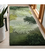 Green Contemporary Wool Rug 2.6 x 12 feet and protection pad EUC - $195.00