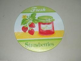 Tempered Glass Trivet Fruit Fresh Strawberries Jam 8 Inch 15185 - $12.91