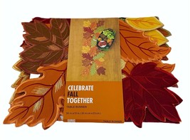 "Celebrate Fall Together Leaf Cutout Table Runner 36""x13"" Autumn Thanksgi... - $18.66"