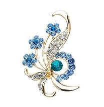 Fashion Crystal & Diamond Party Brooch Pin Clothes Accessories BLUE