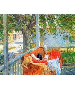 Couch and Veranda at Cos Cob by Hassam - Poster Wall Art Home Decor - $22.99+