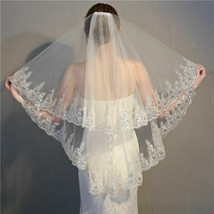 Wedding Veil Wedding Two Layer Appliqued Edge White Ivory Bridal With Co... - $26.99