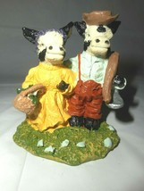 Cow Couple PolyStone Resin Whimsical Figurine Farmhouse Solid Resin Colo... - $6.92