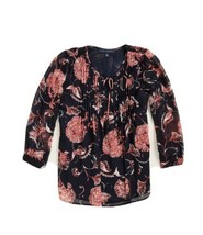 Tommy Hilfiger Women's Pintuck Blouse Size XS Floral $69 #6553 - $30.67