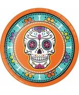 "Day of the Dead Skulls 8 Ct 9"" Halloween Dinner Plates - $4.35"