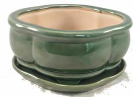 Pot Bonsai Tree Creative Green 6 Inch Pots with Trays - $24.70