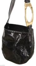 VALENTINO Bag Clutch Pochette Black Leather Shoulder Purse Evening Snake... - $356.25