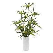 "Durable Multicolor 24? Cyperus Artificial Plant in White Planter - 24"" - $101.75"