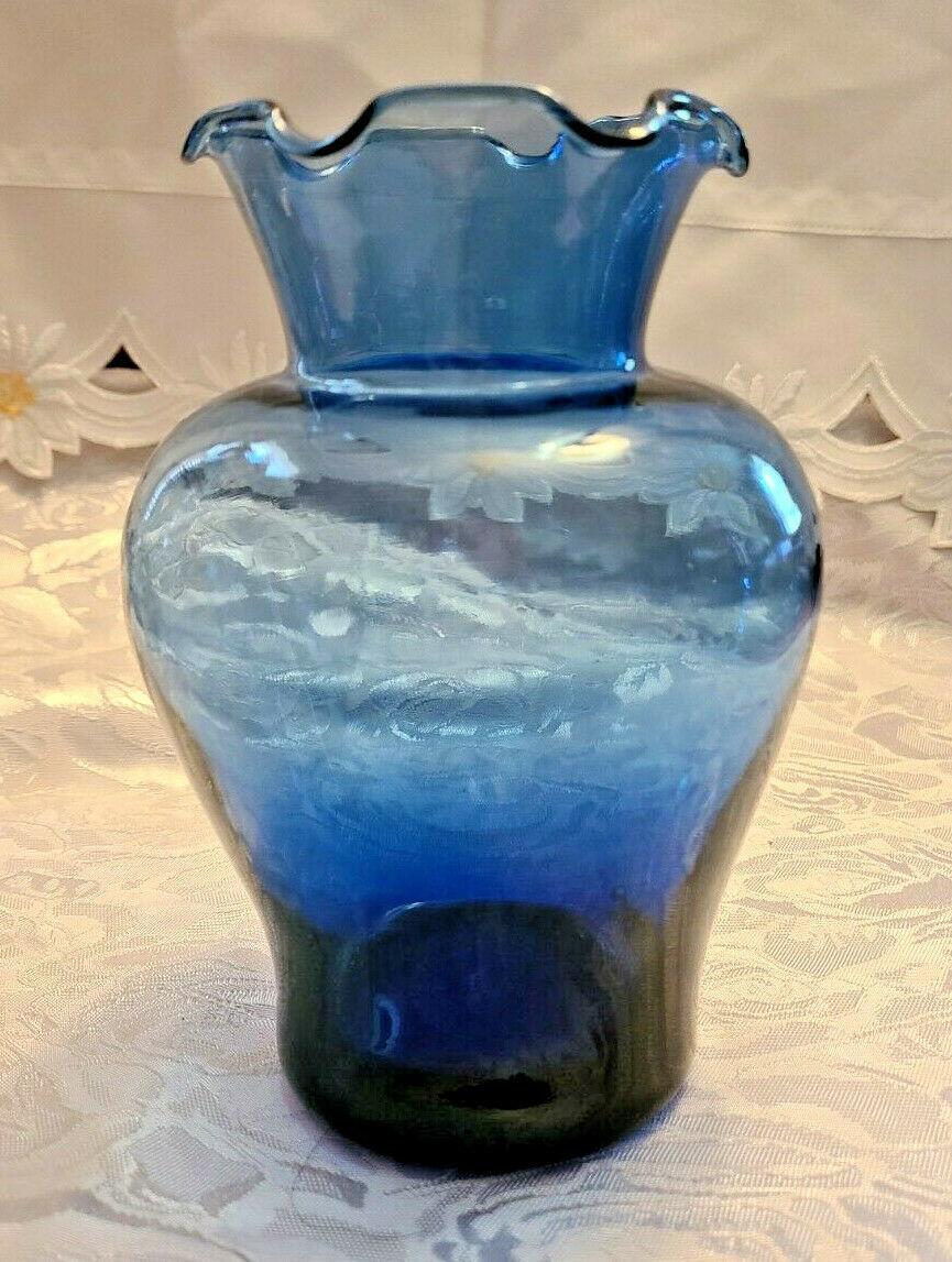 "Vintage Ruffled Collar Blue Glass Vase 6"" by 6"""