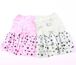 Small Dog Cat Dress Shirt Bow&Stars Design Pet Puppy Skirt Spring Summer... - $6.00