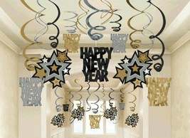 Happy New Year 30 Ct Hanging Swirls Decorations Asst Black Silver Gold - $15.99