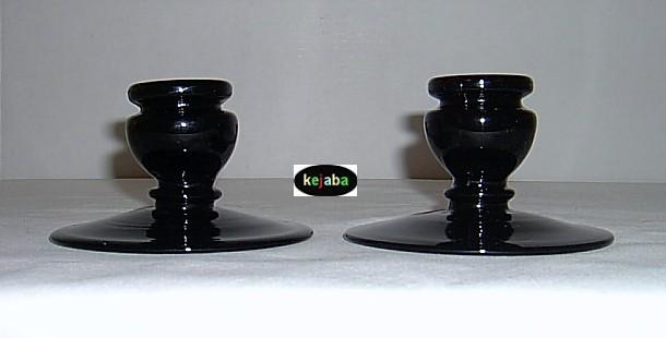 Fenton Black no. 318 Candlesticks pair Vintage