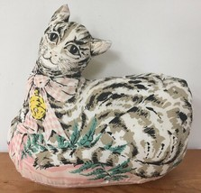 Vintage Hand Sewn Tabby Cat Shaped Pillow Doll Kitten Wearing Pink Bow W... - $23.99