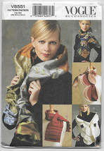 Vogue Accessories 8551 Scarves and Wrap Pattern Five Styles One Size - $3.46